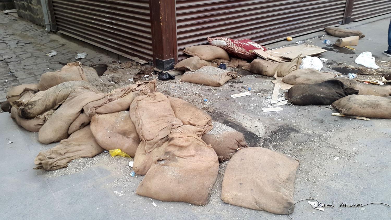 Sandbags from barricades at Sur. Photo: Orhan Ahıskal