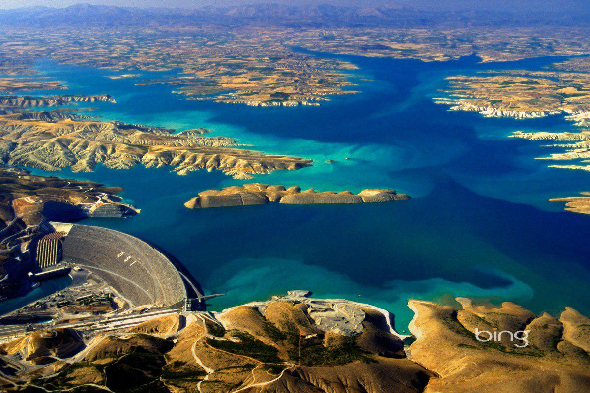 Atatürk Dam and the new lakes created by the dam